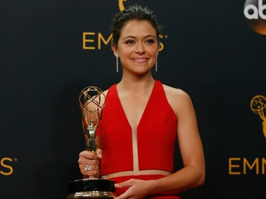 "Actress Tatiana Maslany poses backstage with her award for Outstanding Lead Actress In A Drama Series for the BBC's ""Orphan Black"" at the 68th Primetime Emmy Awards in Los Angeles, California U.S., September 18, 2016. REUTERS/Mario Anzuoni - RTSOCNM"