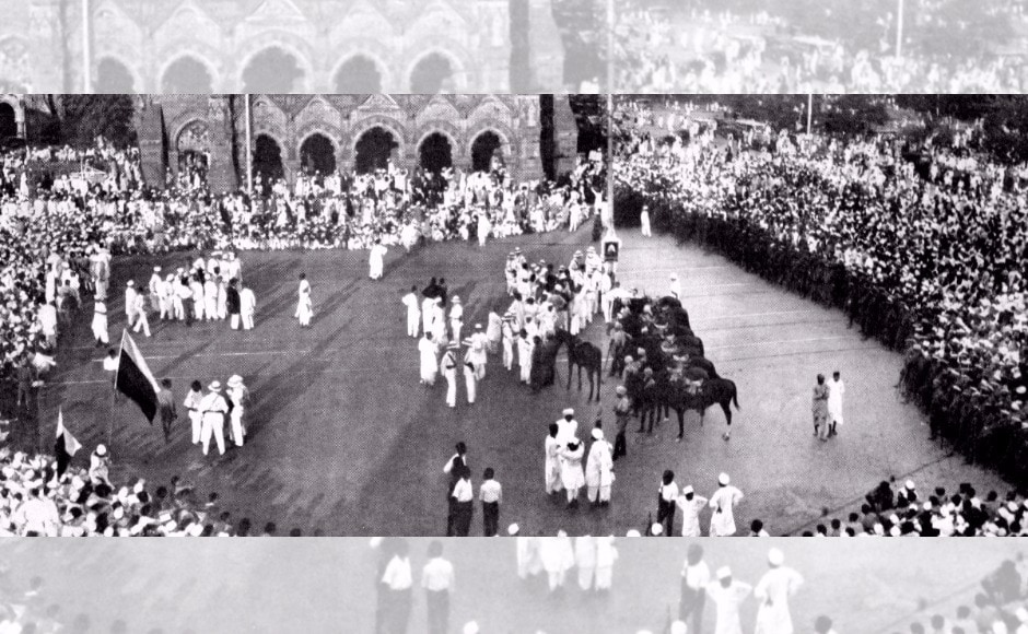 It also includes a historic 1942 recording of the first time the National Anthem was played with a full orchestra accompaniment at the opening ceremony of the Indo-German Cultural Society in Hamburg. Seen here, a mass demonstration at Bombay during Salt Satyagraha