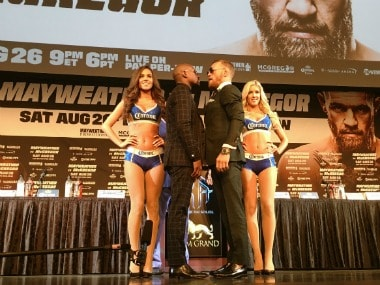 Floyd Mayweather vs Conor McGregor face-off for the final time before the fight on 26 August. Image Courtesy: Twitter @ShowtimeBoxing