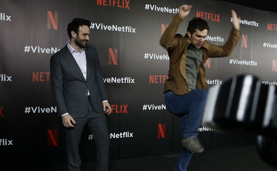 Actors Charlie Cox (left) and Finn Jones, from the Netflix series The Defenders joke around during a red carpet event in Mexico City, Wednesday, 2 Aug, 2017. Image via AP/Marco Ugarte