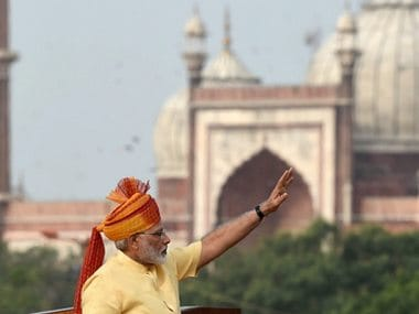 New Delhi: Indian Prime Minister Narendra Modi waves to the crowd during Independence Day celebrations at the Red Fort in New Delhi on Tuesday. PTI Photo by Shirish Shete (PTI8_15_2017_000003B)