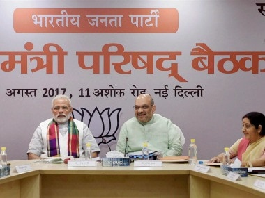 Prime Minister Narendra Modi, BJP President Amit Shah and Union ministers Rajnath Singh and Sushma Swaraj and other leaders at the party's Mukhyamatri Parishad Baithak (meeting of chief ministers of BJP-ruled states) in New Delhi on Monday. PTI