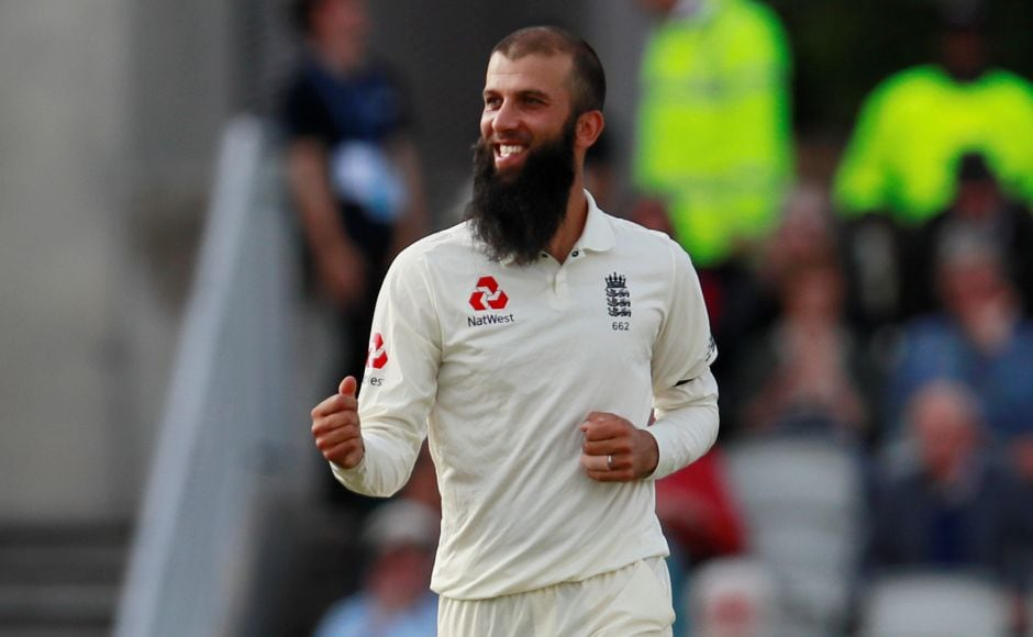 Moeen Ali saw off South Africa's last bit of fight with the first of his five quick wickets as he trapped Amla lbw, who was out on review. Reuters