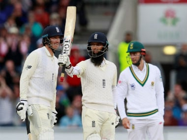 Moeen Ali raises his bat after bringing up his half-century on Day 3 of the fourth Test against South Africa. Reuters