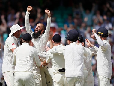 Moeen Ali celebrates after taking a hat-trick in the 3rd Test. AP