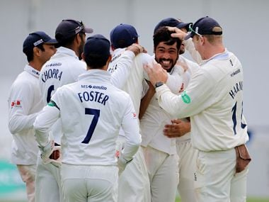 Mohammad Amir celebrating with his team mates after a wicket. Twitter @EssexCricket