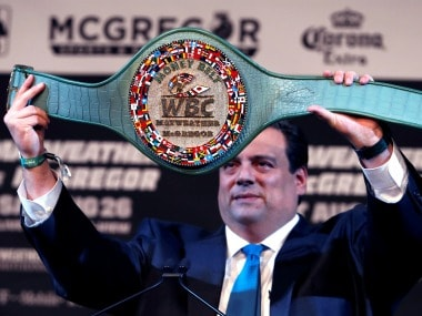 WBC has specially made this belt for Floyd Mayweather vs Conor McGregor's boxing bout. Reuters