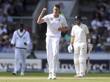 South Africa's Morne Morkel celebrates dismissing England's Dawid Malan, during the fourth cricket Test match between England and South Africa at Old Trafford, cricket ground Manchester England Friday Aug. 4, 2017. (Simon Cooper/PA via AP)