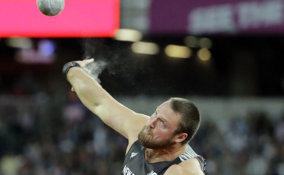 New Zealand's Tomas Walsh competes in the final of the Men's Shot Put during the World Athletics Championships in London Sunday. AP
