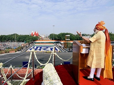 New Delhi: Prime Minister Narendra Modi addressing the nation from the ramparts of the historic Red Fort on the occasion of the 71st Independence Day, in New Delhi on Tuesday. PTI Photo / PIB (PTI8_15_2017_000060B) *** Local Caption ***