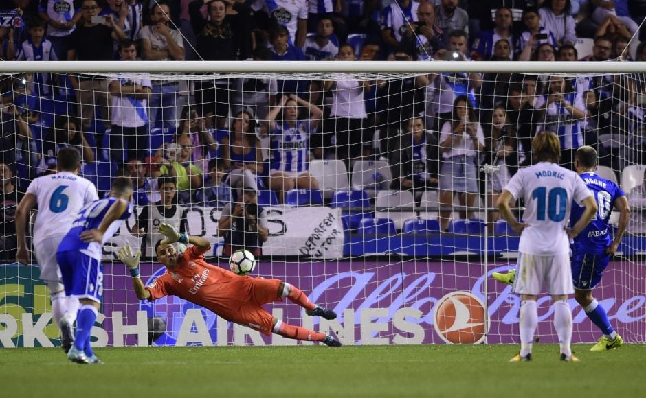 Real Madrid goalkeeper Keylor Navas saved a penalty from Florin Andone and deservedly got a clean sheet. AFP