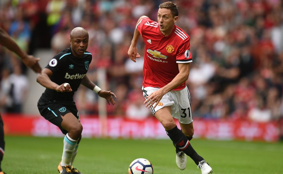 Manchester United's new signing Nemanja Matic played his match at Old Trafford in Manchester United colours against West Ham United. AFP