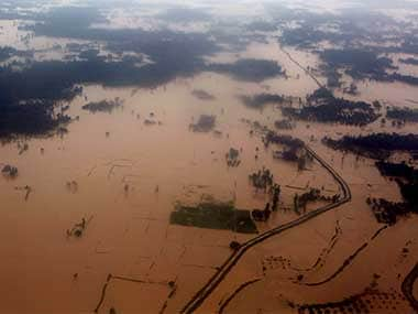 An ariel view of flooded land is seen at Dhanusha District, Nepal that cascaded to flooding in Bihar. PTI