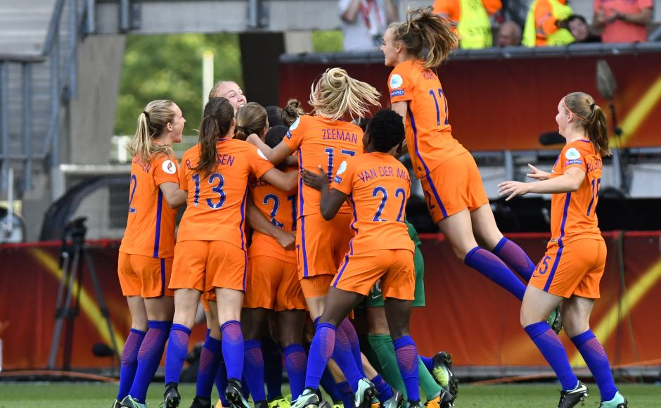 The Netherlands players celebrate after defeating Denmark to win the final of the Women's Euro 2017 final in Enschede. AP