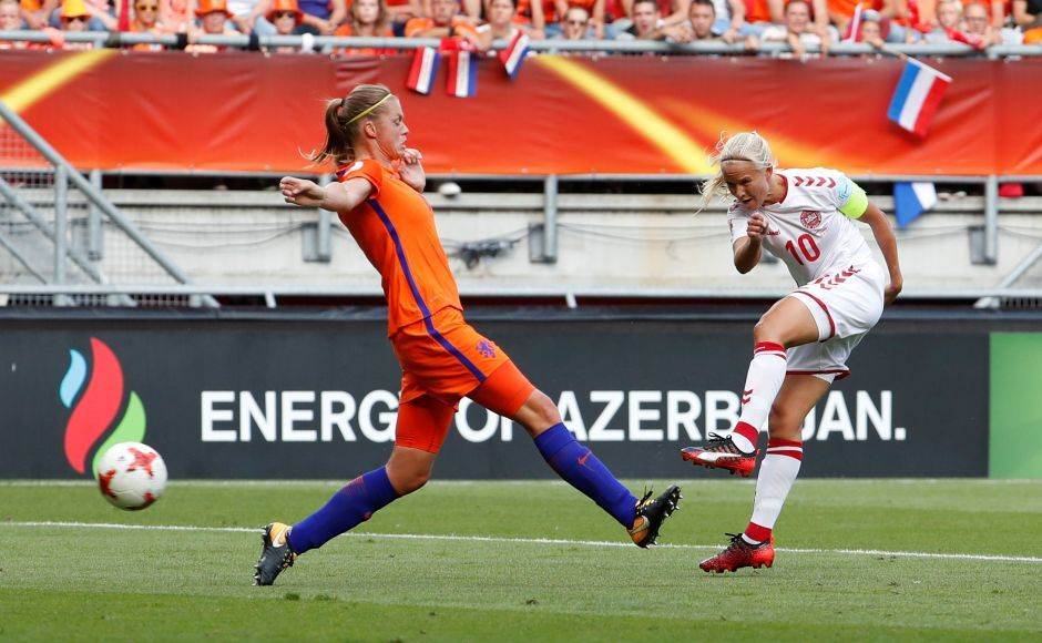 Lieke Martens then put the home side in front by curling in a bouncing shot, but Pernille Harder equalised before the break, cutting in from the right and rifling the ball home with her left foot. Reuters