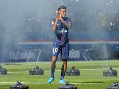 PSG's new signing Neymar was unveiled at the Parc de Princes Stadium on Saturday. Image courtesy: Twitter/ @PSG_Inside