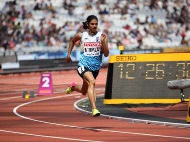 Nirmala Sheron at the IAAF World Championships. Firstpost/Sundeep Misra