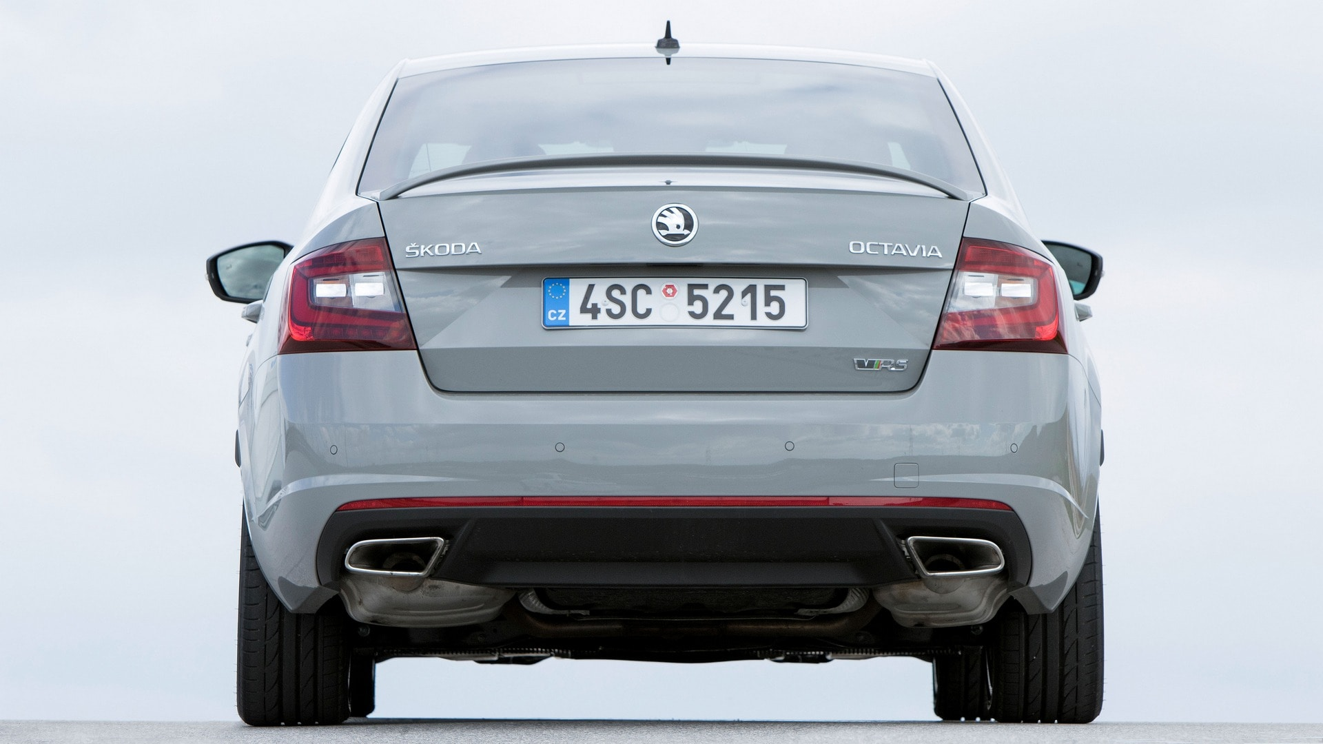 A wide view of the Skoda Octavia RS back, along with a look at the twin exhausts.