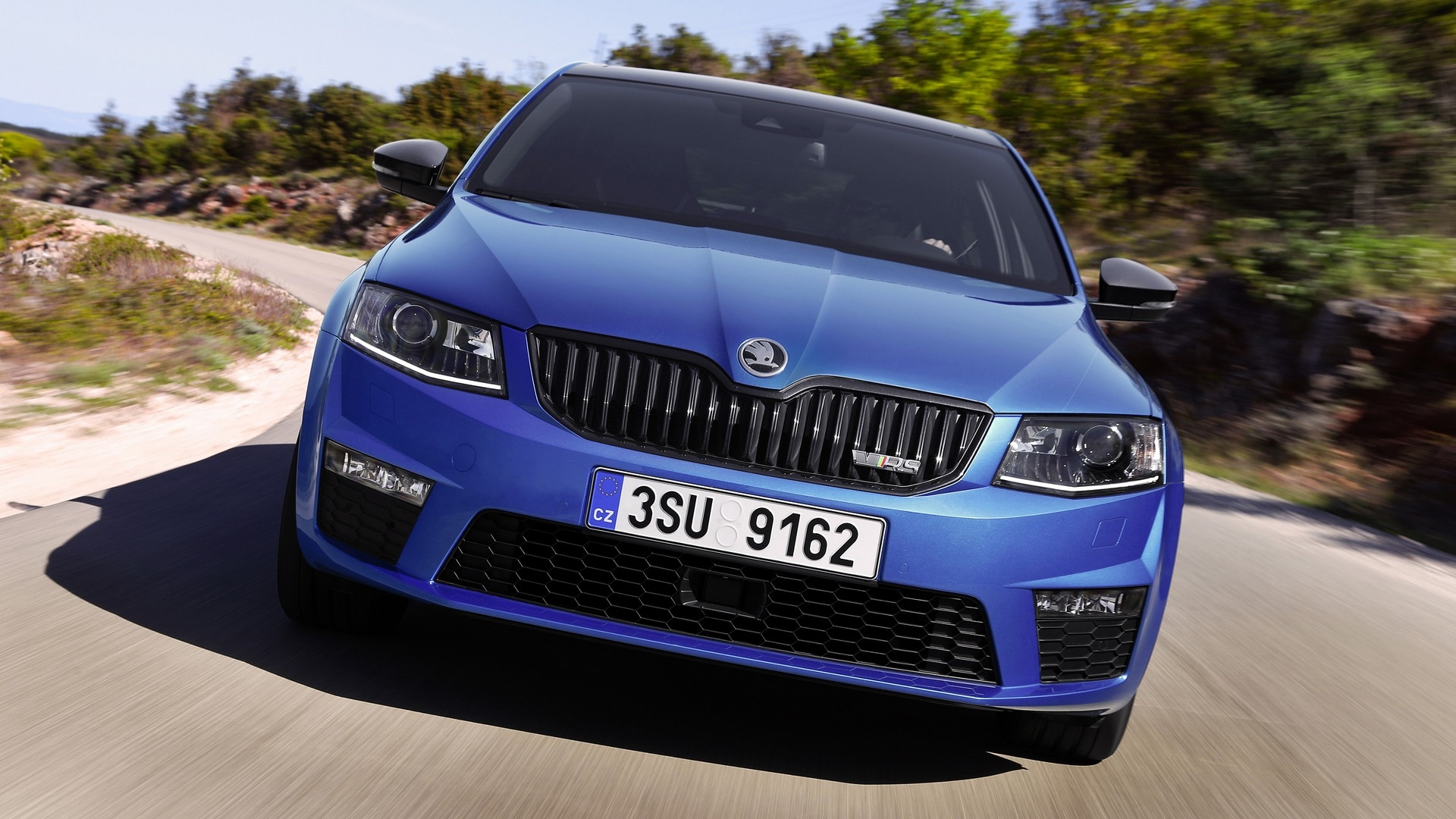 A frontal view of the grille in the Skoda Octavia RS.