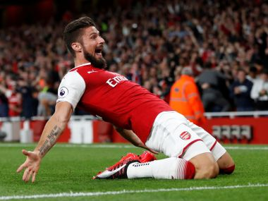 "Football Soccer - Premier League - Arsenal vs Leicester City - London, Britain - August 11, 2017 Arsenal's Olivier Giroud celebrates scoring their fourth goal Action Images via Reuters/Paul Childs EDITORIAL USE ONLY. No use with unauthorized audio, video, data, fixture lists, club/league logos or ""live"" services. Online in-match use limited to 45 images, no video emulation. No use in betting, games or single club/league/player publications. Please contact your account representative for further details.? - RTS1BF96"
