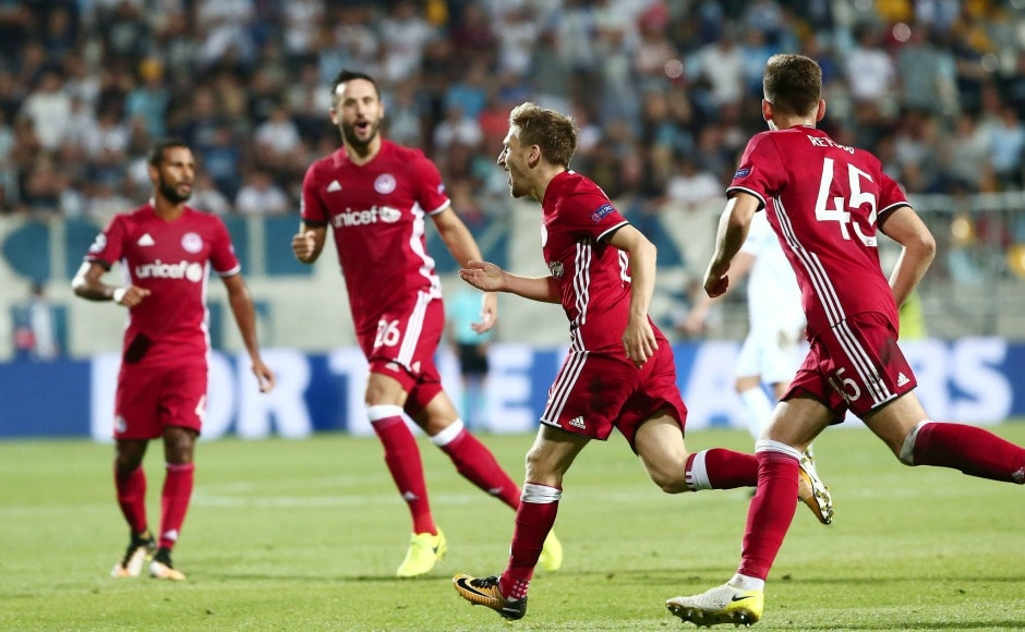 Olympiacos celebrate their goal against Croatian side Rijeka. They also won the first leg 2-1, hence qualified for the group stage of Champions League. Image Courtesy: Twitter @olympiacos_org