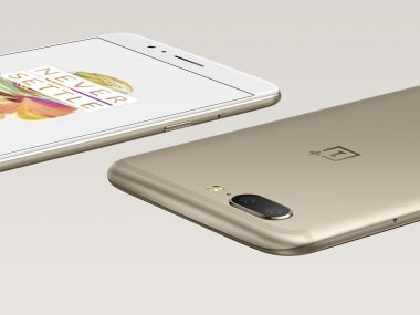 The OnePlus 5 in Soft Gold.