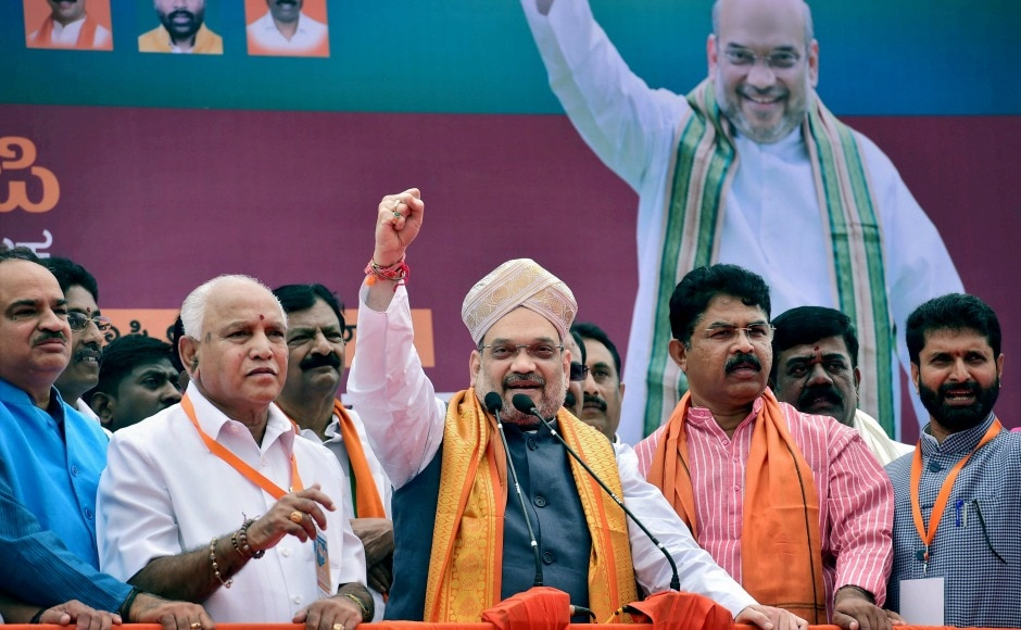 Amit Shah was accorded a rousing reception by BJP workers. He claimed that the people of Karnataka had decided to vote the BJP to power in the upcoming Assembly election. PTI