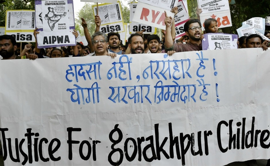 On Sunday, students of All India Students Association (AISA) shout slogans as they take out a protest against the UP government over the Gorakhpur hospital incident. In a shocking incident on Friday, 30 children in Uttar Pradesh's Gorakhpur district died in a span of 48 hours at Baba Raghav Das Medical College. PTI
