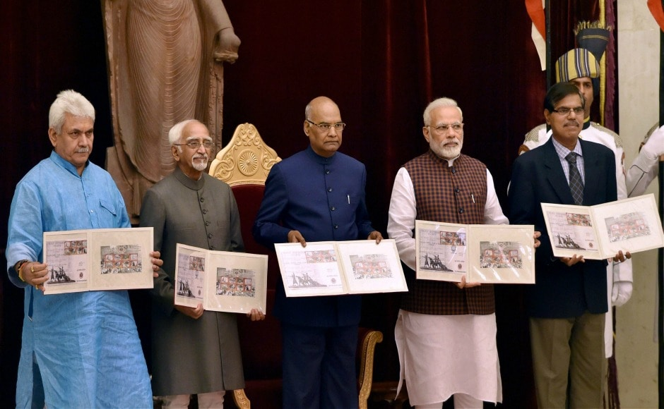 President Ram Nath Kovind, Vice-President Hamid Ansari, Prime Minister Narendra Modi and Communications Minister Manoj Sinha released a set of eight commemorative postage stamps during a ceremony hosted in the honour of freedom-fighters at Rashtrapati Bhavan in New Delhi on the occasion of August Kranti Day. PTI