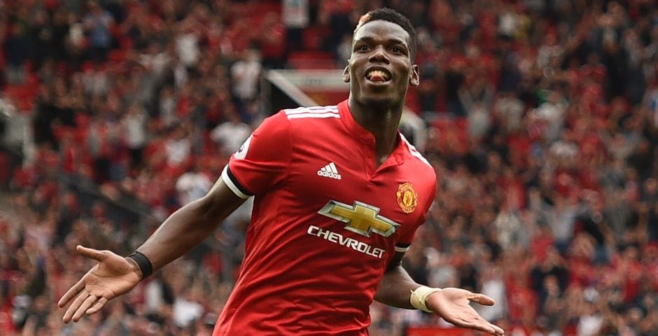 Paul Pogba celebrates after scoring United's fourth goal against West Ham United. The French midfielder latched on to compatriot Anthony Martial's pass as he scored his first goal of the campaign. AFP