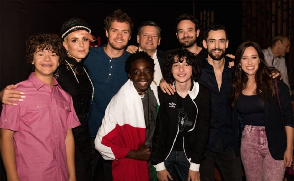 Cast of Marvel's The Defenders and Stranger Things in Mexico City. Image via Twitter