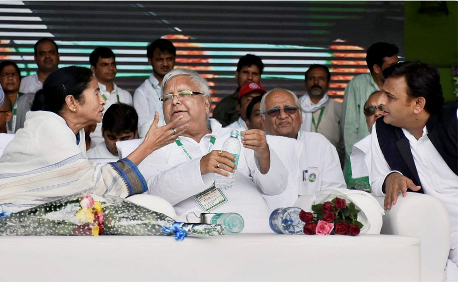 Lalu Prasad Yadav with Trinamool Congress supremo Mamata Banerjee and former Uttar Pradesh chief minister Akhilesh Yadav. Lalu has said the 'BJP bhagao desh bachao' rally would herald the decline of the BJP-led National Democratic Alliance in the 2019 Lok Sabha election. PTI