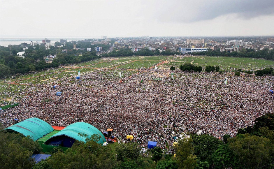 Aerial view of RJD's rally 'BJP <em>Bhagao, Desh Bachao</em>'. A large number of people assembled at the rally despite floods affecting major parts of Seemanchal, Koshi and Mithilanchal regions of north Bihar. Elaborate security arrangements were also made with a total of 64 CCTV cameras have been installed. PTI