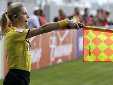 Brazil's referee assistant Fernanda Colombo Uliana attends the Brazilian championship soccer match between Atletico Mineiro and Cruzeiro in Belo Horizonte May 11, 2014. Uliana has just been granted FIFA official status by the refereeing committee of the Brazilian Football Confederation. REUTERS/Washington Alves (BRAZIL - Tags: SPORT SOCCER) - RTR3OPD2