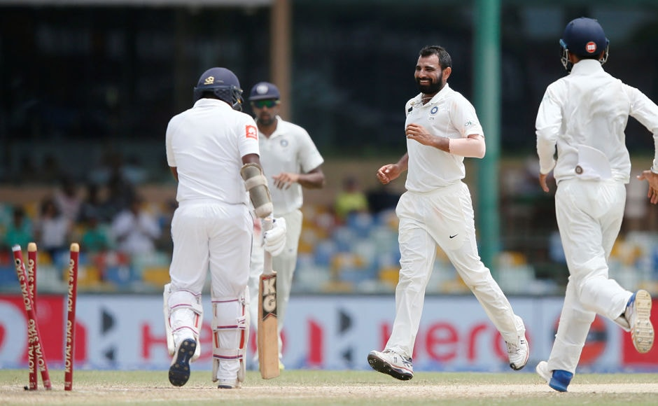 India's Mohammed Shami first rattled Dickwella's stumps and then disturbed Hearth's woodwork in the same over to take 2 wickets in the first innings. Reuters