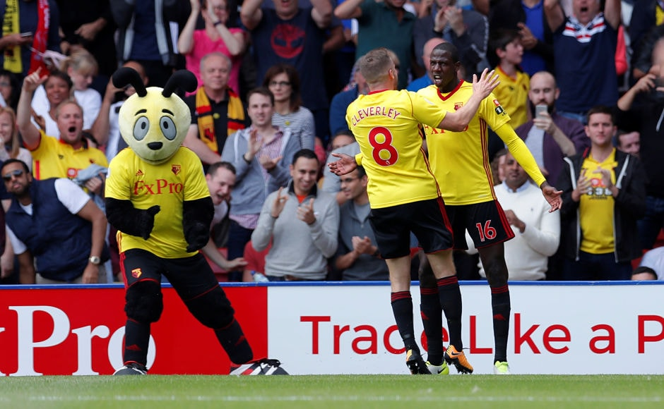 The match between Watford and Liverpool ended up being six-goal thriller as late equaliser from Watford denied Liverpool a victory. Watford's Abdoulaye Doucoure celebrates scoring their team's second goal with Tom Cleverley and mascot Harry the Hornet. Reuters