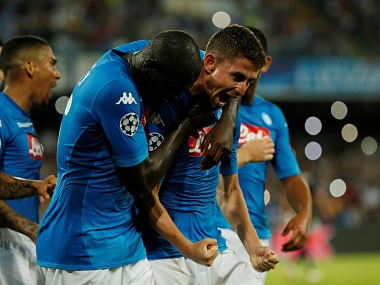 Soccer Football - Champions League - Napoli vs Nice - Qualifying Play-Off First Leg - Naples, Italy - August 16, 2017 Napoli's Jorginho celebrates scoring their second goal with team mates REUTERS/Ciro De Luca - RTS1C2TG
