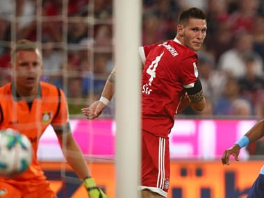 Soccer Football - Bundesliga - Bayern Munich vs Bayer Leverkusen - Munich, Germany - August 18, 2017 Bayern Munich's Niklas Sule scores their first goal REUTERS/Michael Dalder DFL RULES TO LIMIT THE ONLINE USAGE DURING MATCH TIME TO 15 PICTURES PER GAME. IMAGE SEQUENCES TO SIMULATE VIDEO IS NOT ALLOWED AT ANY TIME. FOR FURTHER QUERIES PLEASE CONTACT DFL DIRECTLY AT + 49 69 650050 - RTS1CDC4