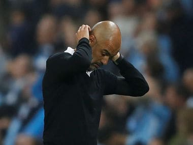 """Football Soccer - Premier League - Manchester City vs Everton - Manchester, Britain - August 21, 2017 Manchester City manager Pep Guardiola reacts Action Images via Reuters/Carl Recine EDITORIAL USE ONLY. No use with unauthorized audio, video, data, fixture lists, club/league logos or """"live"""" services. Online in-match use limited to 45 images, no video emulation. No use in betting, games or single club/league/player publications. Please contact your account representative for further details. - RTS1CPN7"""