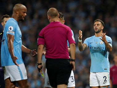 "Football Soccer - Premier League - Manchester City vs Everton - Manchester, Britain - August 21, 2017 Manchester City's Kyle Walker reacts after receiving a second booking and being sent off by referee Robert Madley Action Images via Reuters/Carl Recine EDITORIAL USE ONLY. No use with unauthorized audio, video, data, fixture lists, club/league logos or ""live"" services. Online in-match use limited to 45 images, no video emulation. No use in betting, games or single club/league/player publications. Please contact your account representative for further details. TPX IMAGES OF THE DAY - RTS1CPZI"