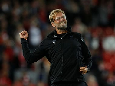 Soccer Football - Champions League - Playoffs - Liverpool vs TSG 1899 Hoffenheim - Liverpool, Britain - August 23, 2017 Liverpool manager Juergen Klopp celebrates after the match REUTERS/Phil Noble - RTS1D1NS
