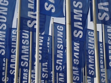 Samsung flags at entrance of IFA 2012. Reuters