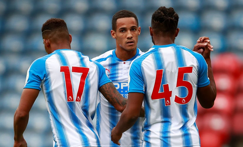 Soccer Football - Huddersfield Town vs Udinese - Pre Season Friendly - Huddersfield, Britain - July 26, 2017 Huddersfield's Tom ince celebrates scoring their first goal with team mates Action Images via Reuters/Jason Cairnduff - RTX3D0VT