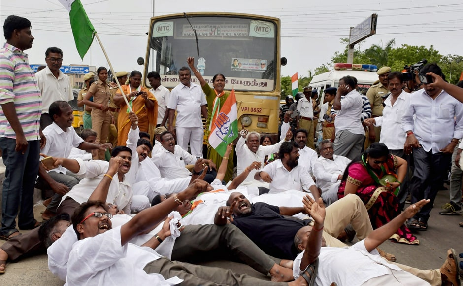 Cadres of Congress' Tamil Nadu unit led by its chief Su Thirunavukkarasar on Saturday blocked the road near Valluvar Kottam in Chennai to protest against the attack on Rahul Gandhi. They squatted on the road in protest and raised slogans against the attack, demanding action against those behind it. PTI