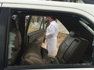 Rahul Gandhi's car was vandalised in Gujarat on Friday. Twitter/rssurjewala