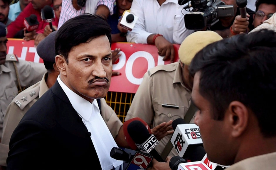 SK Garg Narwana, defence lawyer for Ram Rahim, reacts while talking to the media near Sunariya Jail after the sentence was announced. The Dera sect chief reportedly broke down in the court and had to be forcibly removed from the courtroom, following which he complained of chest pains. Narwana said Ram Rahim will challenge the length of the sentence in Punjab and Haryana High Court. PTI