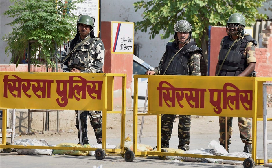 There was tight security in and around Dera Sacha Sauda headquarters to contain the possible violence following the sentence announcement in Sirsa on Monday. PTI