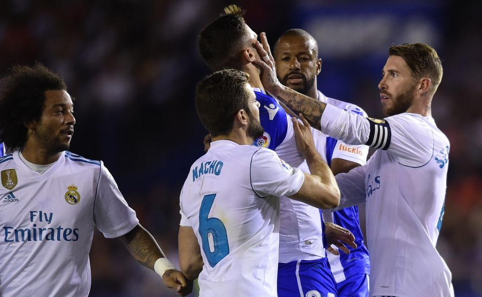 Sergio Ramos got away with only a yellow card for a slap on Swiss defender Fabian Schar in the second half. However, Ramos was dismissed late in the match for an elbow on Borja Valle. AFP