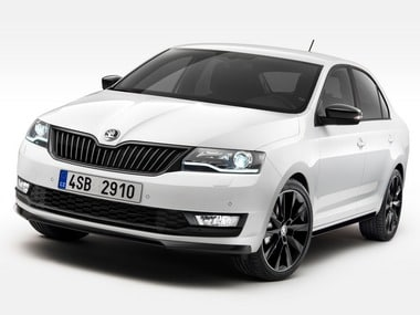 The 2017 Skoda Rapid Monte Carlo front view.