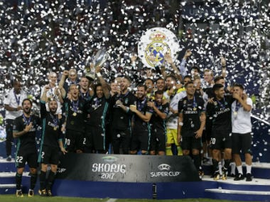 Real Madrid lift the UEFA Super Cup after beating Manchester United in Skopje. AP